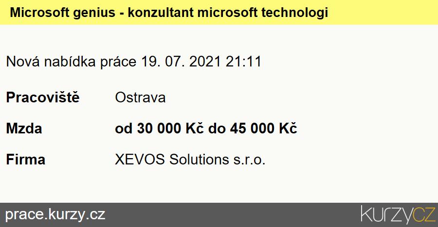Microsoft genius - konzultant microsoft technologií, Specialisté voblasti počítačových sítí (kromě správců)